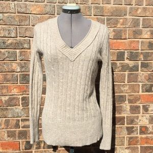 Loft tan and gold v-neck sweater, small
